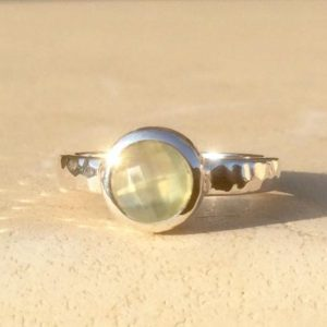 Shop Prehnite Rings! Gemstone Silver Ring, Small Round Green Stone Silver Ring, Prehnite Gemstone Ring, Round Stone Ring, Gift For Her   Natural genuine Prehnite rings, simple unique handcrafted gemstone rings. #rings #jewelry #shopping #gift #handmade #fashion #style #affiliate #ad