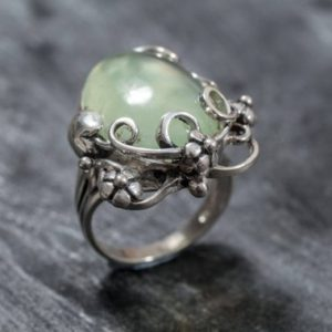 Shop Prehnite Rings! Prehnite Ring, Natural Prehnite, May Birthstone Ring, Leaf Ring, Healing Stones, Green Ring, Vintage Rings, Green Stone, Solid Silver Ring | Natural genuine Prehnite rings, simple unique handcrafted gemstone rings. #rings #jewelry #shopping #gift #handmade #fashion #style #affiliate #ad