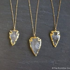 Gold Arrowhead Necklace / Quartz Arrowhead / Quartz Necklace / Quartz Crystal / Crystal Necklace / Layering Necklace / Black Friday Sale | Natural genuine Quartz necklaces. Buy crystal jewelry, handmade handcrafted artisan jewelry for women.  Unique handmade gift ideas. #jewelry #beadednecklaces #beadedjewelry #gift #shopping #handmadejewelry #fashion #style #product #necklaces #affiliate #ad