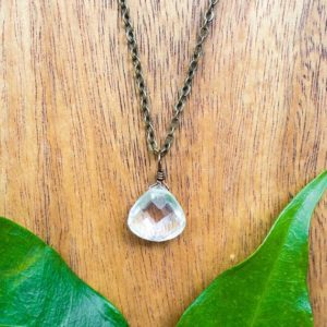 Tiny Crystal Quartz Necklace – Small Crystal Quartz Faceted Teardrop Necklace – Natural Rock Quartz Necklace – April Birthstone Necklace | Natural genuine Quartz necklaces. Buy crystal jewelry, handmade handcrafted artisan jewelry for women.  Unique handmade gift ideas. #jewelry #beadednecklaces #beadedjewelry #gift #shopping #handmadejewelry #fashion #style #product #necklaces #affiliate #ad