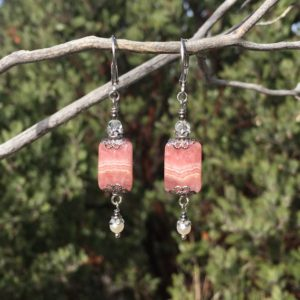 Shop Rhodochrosite Earrings! Rhodochrosite Earrings with Pearl and Crystal, Pink Bridal Earrings, Formal Evening Earrings, Dressy Victorian Art Nouveau Filigree Earrings | Natural genuine Rhodochrosite earrings. Buy handcrafted artisan wedding jewelry.  Unique handmade bridal jewelry gift ideas. #jewelry #beadedearrings #gift #crystaljewelry #shopping #handmadejewelry #wedding #bridal #earrings #affiliate #ad