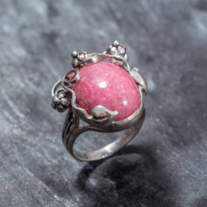 Shop Rhodochrosite Jewelry! Rhodochrosite Ring, February Birthstone, Leaf Ring, Rhodochrosite, Vine Ring, Natural Stone, Large Rhodochrosite, Solid Silver Ring | Natural genuine Rhodochrosite jewelry. Buy crystal jewelry, handmade handcrafted artisan jewelry for women.  Unique handmade gift ideas. #jewelry #beadedjewelry #beadedjewelry #gift #shopping #handmadejewelry #fashion #style #product #jewelry #affiliate #ad
