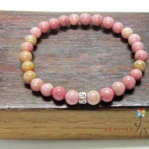 Shop Rhodonite Bracelets! Rhodonite Om Mani Padme Mantra Mala Bracelet Solar Plexus Heart Chakra Bracelet Healing Rhodonite Bracelet Taurus Rhodonite Bracelet Yoga | Natural genuine Rhodonite bracelets. Buy crystal jewelry, handmade handcrafted artisan jewelry for women.  Unique handmade gift ideas. #jewelry #beadedbracelets #beadedjewelry #gift #shopping #handmadejewelry #fashion #style #product #bracelets #affiliate #ad