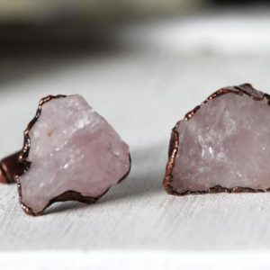 Raw Stone Cuff Links – Groomsmen Gift – Rose Quartz Cufflinks – Graduation Gift | Natural genuine Array bracelets. Buy crystal jewelry, handmade handcrafted artisan jewelry for women.  Unique handmade gift ideas. #jewelry #beadedbracelets #beadedjewelry #gift #shopping #handmadejewelry #fashion #style #product #bracelets #affiliate #ad