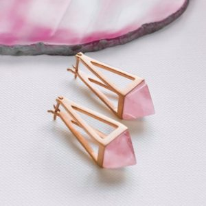 Shop Rose Quartz Earrings! Geometric Rose Gold Drop Earrings, Rose Quartz Dangle Earrings, Rose Gold Plated Sterling Silver Earrings, Unusual Earrings, Pyramid Earring | Natural genuine Rose Quartz earrings. Buy crystal jewelry, handmade handcrafted artisan jewelry for women.  Unique handmade gift ideas. #jewelry #beadedearrings #beadedjewelry #gift #shopping #handmadejewelry #fashion #style #product #earrings #affiliate #ad