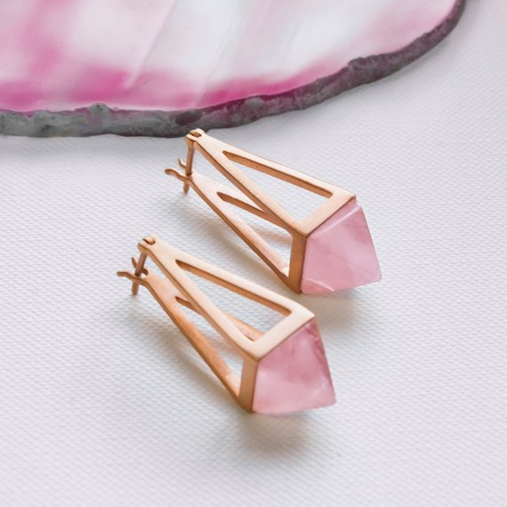 Geometric Rose Gold Drop Earrings, Rose Quartz Dangle Earrings, Rose Gold Plated Sterling Silver Earrings, Unusual Earrings, Pyramid Earring
