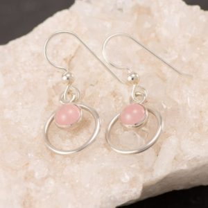 Shop Rose Quartz Earrings! Rose Quartz Earrings- Silver Pink Stone Earrings- Dangle Earrings- Silver Earrings With Pink Gemstones- Valentine's Day Gift | Natural genuine Rose Quartz earrings. Buy crystal jewelry, handmade handcrafted artisan jewelry for women.  Unique handmade gift ideas. #jewelry #beadedearrings #beadedjewelry #gift #shopping #handmadejewelry #fashion #style #product #earrings #affiliate #ad