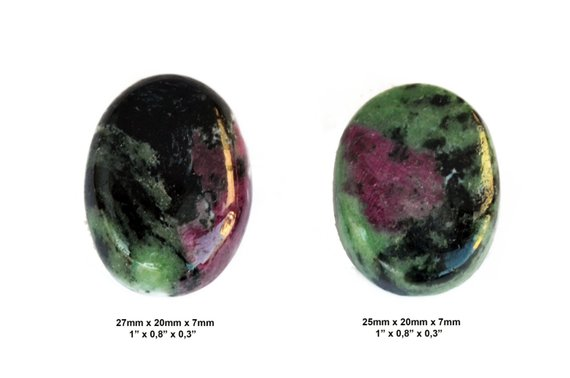 Ruby Zoisite Cabochon Stone - Set Of 2 Pieces - Pair Cabochon - Oval Cabochons