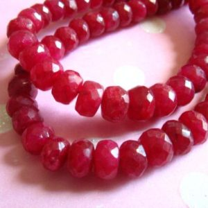 Shop Ruby Faceted Beads! RUBY Rondelles Beads, Luxe AAA, 3-4 mm, True Red, Faceted, July birthstone brides bridal holiday tr r 34 | Natural genuine faceted Ruby beads for beading and jewelry making.  #jewelry #beads #beadedjewelry #diyjewelry #jewelrymaking #beadstore #beading #affiliate #ad