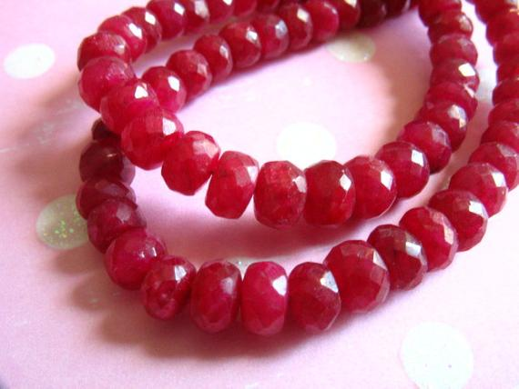 Ruby Rondelles Beads, Luxe Aaa, 3-4 Mm, True Red, Faceted, July Birthstone Brides Bridal Holiday Tr R 34