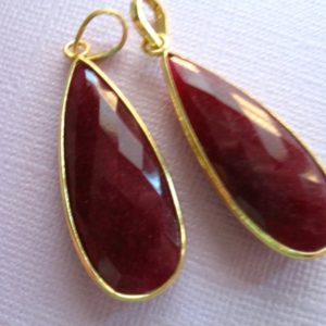 Gemstone Pendant Charm, Bezel Gem Pendant, 24k Plated Sterling Silver, 41×16 mm, Ruby Long Drop Tear Drop Teardrop gcp5 july gp ll wf | Natural genuine other-shape Ruby beads for beading and jewelry making.  #jewelry #beads #beadedjewelry #diyjewelry #jewelrymaking #beadstore #beading #affiliate #ad
