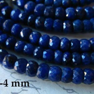 Shop Sapphire Rondelle Beads! 10-100 pcs / 3.5-4 mm SAPPHIRE Beads Rondelle Gemstones, Medium Blue, Luxe AAA / dyed september birthstone tr s wholesale dsa 34 solo | Natural genuine rondelle Sapphire beads for beading and jewelry making.  #jewelry #beads #beadedjewelry #diyjewelry #jewelrymaking #beadstore #beading #affiliate #ad
