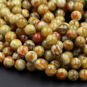 "Rare Natural Russian Blood Serpentine Jade 6mm 8mm 10mm 12mm Round Beads Red Mustard Green Jade From Russia 15.5"" Strand 