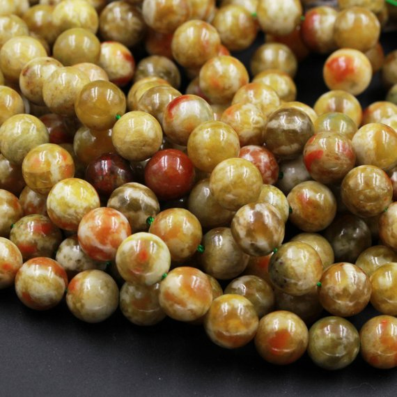 "Rare Natural Russian Blood Serpentine Jade 4mm 6mm 8mm 10mm 12mm Round Beads Red Mustard Green Jade From Russia 15.5"" Strand"