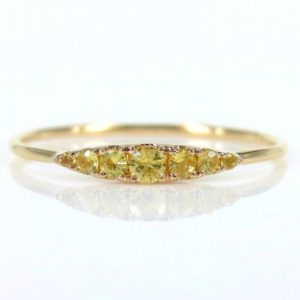 Seven-Stone Graduated Yellow Sapphire Ring in 18K Yellow Gold | Natural genuine Yellow Sapphire jewelry. Buy crystal jewelry, handmade handcrafted artisan jewelry for women.  Unique handmade gift ideas. #jewelry #beadedjewelry #beadedjewelry #gift #shopping #handmadejewelry #fashion #style #product #jewelry #affiliate #ad