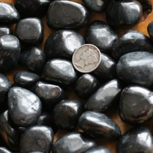 Shungite Medium Tumbled Stone T45 | Natural genuine stones & crystals in various shapes & sizes. Buy raw cut, tumbled, or polished gemstones for making jewelry or crystal healing energy vibration raising reiki stones. #crystals #gemstones #crystalhealing #crystalsandgemstones #energyhealing #affiliate #ad