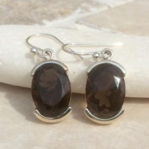Shop Smoky Quartz Earrings! Gemstone Silver Drop Earrings, Smokey Quartz Oval Stone Earrings, Brown Gemstone Earrings, Gift For Mum | Natural genuine Smoky Quartz earrings. Buy crystal jewelry, handmade handcrafted artisan jewelry for women.  Unique handmade gift ideas. #jewelry #beadedearrings #beadedjewelry #gift #shopping #handmadejewelry #fashion #style #product #earrings #affiliate #ad