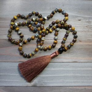 Tassel Mala Necklace, Long Tassel Necklace, Boho Tassel Jewelry, Hand Knotted Mala Necklace, Mala Beads Men, Zebra Jasper, Bohemian Style | Natural genuine Gemstone necklaces. Buy crystal jewelry, handmade handcrafted artisan jewelry for women.  Unique handmade gift ideas. #jewelry #beadednecklaces #beadedjewelry #gift #shopping #handmadejewelry #fashion #style #product #necklaces #affiliate #ad