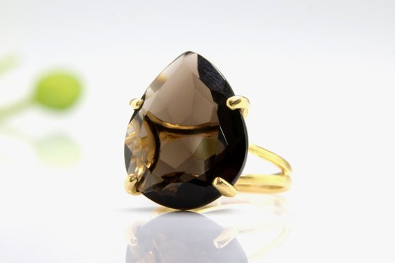Gold Smoky Quartz Ring, Teardrop Ring, Pear Ring, Drop Ring, Faceted Ring, Gemstone Ring, Brown Ring, Statement Ring