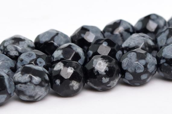 "4mm Snowflake Obsidian  Beads Grade Aaa Genuine Natural Gemstone Faceted Round Loose Beads 15"" / 7.5"" Bulk Lot Options (100857)"