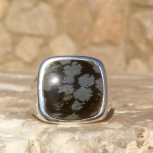 Shop Snowflake Obsidian Jewelry! Mens' Black Gemstone Silver Ring, Snowflake Obsidian Sterling Silver Ring, Gents' Gift Idea | Natural genuine Snowflake Obsidian jewelry. Buy crystal jewelry, handmade handcrafted artisan jewelry for women.  Unique handmade gift ideas. #jewelry #beadedjewelry #beadedjewelry #gift #shopping #handmadejewelry #fashion #style #product #jewelry #affiliate #ad