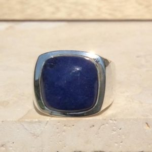 Shop Sodalite Rings! Men's Blue Stone Silver Ring, Sodalite Silver Ring, Christmas Gift For Men | Natural genuine Sodalite mens fashion rings, simple unique handcrafted gemstone men's rings, gifts for men. Anillos hombre. #rings #jewelry #crystaljewelry #gemstonejewelry #handmadejewelry #affiliate #ad