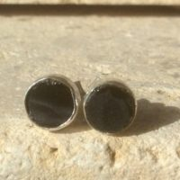 Black Stone Silver Studs, Rough Stone Earrings, Raw Spinel Silver Studs, Raw Stone Studs, Black Stone Earrings, Wedding Jewellery | Natural genuine Gemstone jewelry. Buy handcrafted artisan wedding jewelry.  Unique handmade bridal jewelry gift ideas. #jewelry #beadedjewelry #beadedjewelry #crystaljewelry #gemstonejewelry #handmadejewelry #wedding #bridal #jewelry #affiliate