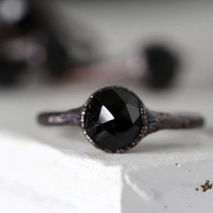 Shop Spinel Rings! Black Spinel Ring – Faceted Spinel Ring – Engagement Ring – Black Crystal Promise Ring | Natural genuine Spinel rings, simple unique alternative gemstone engagement rings. #rings #jewelry #bridal #wedding #jewelryaccessories #engagementrings #weddingideas #affiliate #ad