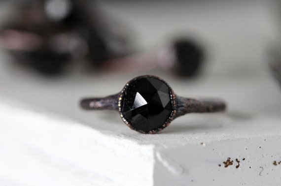 Black Spinel Ring - Faceted Spinel Ring - Engagement Ring - Black Crystal Promise Ring