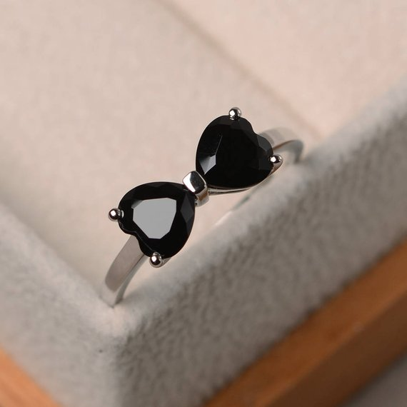 Natural Black Spinel Ring, Engagement Ring, Heart Cut Black Gemstone,  Sterling Silver Ring, Double Gems Ring
