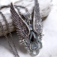 Steampunk Jewelry Mens pendant Gothic jewelry Hematite necklace womens pendant Wings Pendant Silver Statement Pendant | Natural genuine Gemstone jewelry. Buy handcrafted artisan men's jewelry, gifts for men.  Unique handmade mens fashion accessories. #jewelry #beadedjewelry #beadedjewelry #crystaljewelry #gemstonejewelry #handmadejewelry #jewelry #affiliate