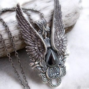 Shop Hematite Jewelry! Steampunk Jewelry, Gothic jewelry, Mens pendant, Hematite necklace, Silver Wings Statement Pendant | Natural genuine Hematite jewelry. Buy handcrafted artisan men's jewelry, gifts for men.  Unique handmade mens fashion accessories. #jewelry #beadedjewelry #beadedjewelry #shopping #gift #handmadejewelry #jewelry #affiliate #ad