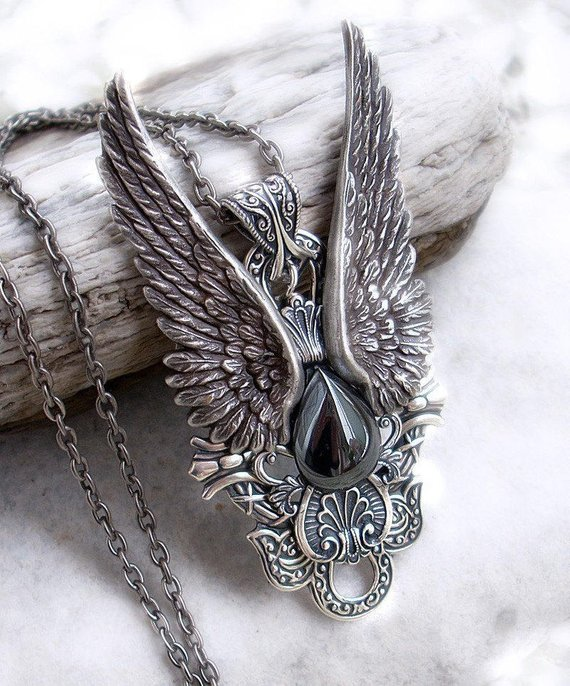 Steampunk Jewelry, Gothic Jewelry, Mens Pendant, Hematite Necklace, Silver Wings Statement Pendant