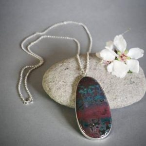 "Shop Bloodstone Necklaces! Sterling Silver and Bloodstone Necklace ""Rusty Blues"" 