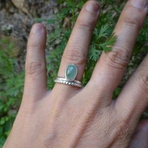 sterling silver ring with stone fluorite, indian style ring, boho ring, ring US size 6, creator ring, granulation ring, fluorite ring green | Natural genuine Fluorite rings, simple unique handcrafted gemstone rings. #rings #jewelry #shopping #gift #handmade #fashion #style #affiliate #ad