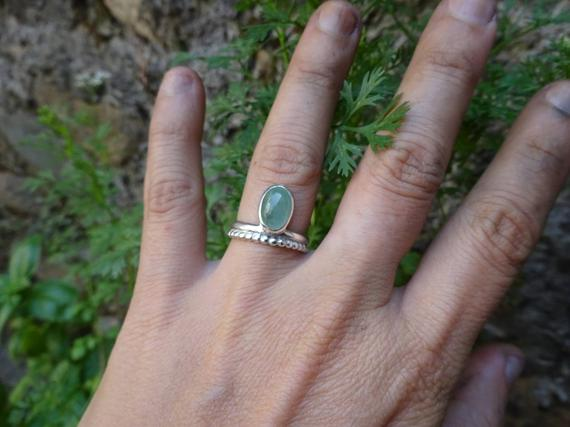 Sterling Silver Ring With Stone Fluorite, Indian Style Ring, Boho Ring, Ring Us Size 6, Creator Ring, Granulation Ring, Fluorite Ring Green