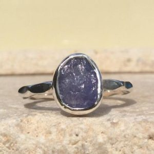 Shop Tanzanite Rings! Blue Gemstone Silver Ring, Raw Tanzanite Ring, Natural Gemstone Jewellery, Gift For Her | Natural genuine Tanzanite rings, simple unique handcrafted gemstone rings. #rings #jewelry #shopping #gift #handmade #fashion #style #affiliate #ad