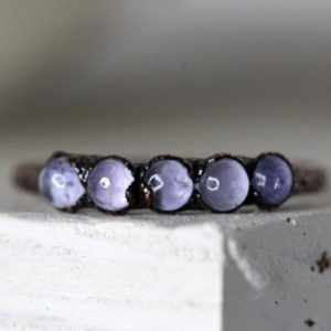 Shop Tanzanite Rings! Tanzanite Ring – December Birthstone Ring – Multi Stone Stacking Ring – Stone Copper Ring – Tanzanite Jewelry | Natural genuine Tanzanite rings, simple unique handcrafted gemstone rings. #rings #jewelry #shopping #gift #handmade #fashion #style #affiliate #ad