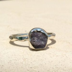 Shop Tanzanite Rings! Raw Stone Ring, Tanzanite Silver Ring, Rough Stone Ring, Natural Gemstone Silver Jewellery | Natural genuine Tanzanite rings, simple unique handcrafted gemstone rings. #rings #jewelry #shopping #gift #handmade #fashion #style #affiliate #ad