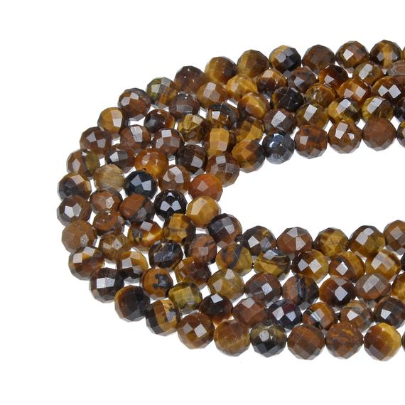 """Yellow Tiger Eye Hard Cut Faceted Round Beads 2mm 3mm 4mm 15.5"""" Strand"""