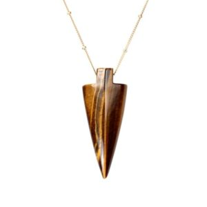 Shop Tiger Eye Necklaces! Arrowhead necklace – tigers eye necklace – spear necklace – an arrowhead on a 14k gold filled satellite chain | Natural genuine Tiger Eye necklaces. Buy crystal jewelry, handmade handcrafted artisan jewelry for women.  Unique handmade gift ideas. #jewelry #beadednecklaces #beadedjewelry #gift #shopping #handmadejewelry #fashion #style #product #necklaces #affiliate #ad