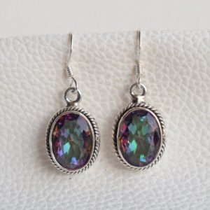 Shop Topaz Earrings! Natural Mystic Topaz Earrings-Handmade Silver Earrings-925 Sterling Silver Earrings-Designer Oval Mystic Earrings-Dangle and Drop Earrings | Natural genuine Topaz earrings. Buy crystal jewelry, handmade handcrafted artisan jewelry for women.  Unique handmade gift ideas. #jewelry #beadedearrings #beadedjewelry #gift #shopping #handmadejewelry #fashion #style #product #earrings #affiliate #ad
