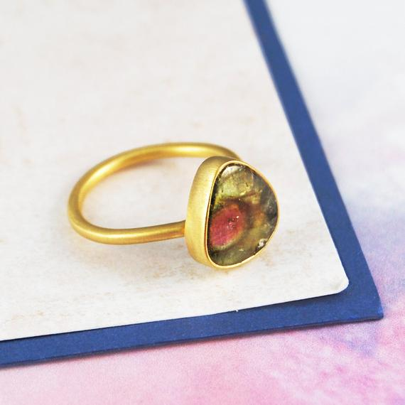 Statement Ring, Gold Band, Gemstone Ring, Watermelon Tourmaline, Pink And Green Stone, Birthday Gifts, Delicate Ring, Unique Jewelry, Gifts