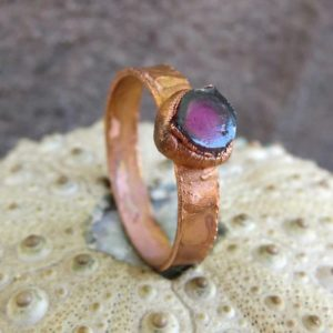 Shop Tourmaline Rings! Watermelon tourmaline electroformed copper ring, Raw pink tourmaline october birthstone ring | Natural genuine Tourmaline rings, simple unique handcrafted gemstone rings. #rings #jewelry #shopping #gift #handmade #fashion #style #affiliate #ad
