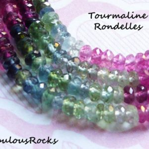 25-100 pcs / Tourmaline Gemstone Beads Rondelles / Luxe AAA, 3-3.5 mm, rubelite pink green petrol october birthstone exotic high end wt 30 | Natural genuine rondelle Tourmaline beads for beading and jewelry making.  #jewelry #beads #beadedjewelry #diyjewelry #jewelrymaking #beadstore #beading #affiliate #ad