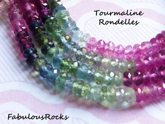 25-100 Pcs / Tourmaline Gemstone Beads Rondelles / Luxe Aaa, 3-3.5 Mm, Rubelite Pink Green Petrol October Birthstone Exotic High End Wt 30