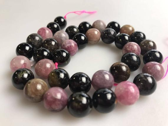 """Multi-color Tourmaline Smooth Round Beads 6mm 8mm 9mm 10mm 12mm 15.5"""" Strand"""