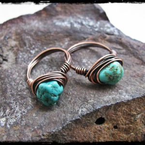 Shop Turquoise Rings! Copper Wire Wrapped Chinese Turquoise Nugget Ring | Natural genuine Turquoise rings, simple unique handcrafted gemstone rings. #rings #jewelry #shopping #gift #handmade #fashion #style #affiliate #ad
