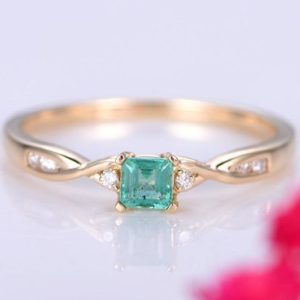 Shop Emerald Engagement Rings! 0.27ct emerald ring raw emerald engagement ring 3.5mm emerald cut natural gemstone ring twisted daimond band petit ring solid 14k rose gold | Natural genuine Emerald rings, simple unique alternative gemstone engagement rings. #rings #jewelry #bridal #wedding #jewelryaccessories #engagementrings #weddingideas #affiliate #ad