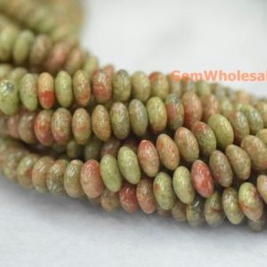 "Shop Unakite Rondelle Beads! 15.5"" 8x4mm Natural Autumn jasper rondelle beads, Natural unakite disc beads, Autumn jasper roundel beads, green red stone roundel beads 